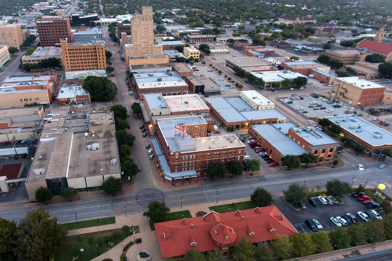 aerial view of the city of Abilene, Texas