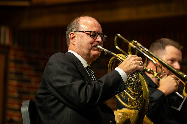 Dean Robert Tucker performing with the Key City Brass Quintet