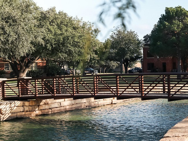Bridge over campus pond