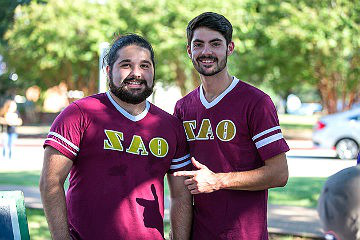 HSU students wearing Greek letters tee shirts